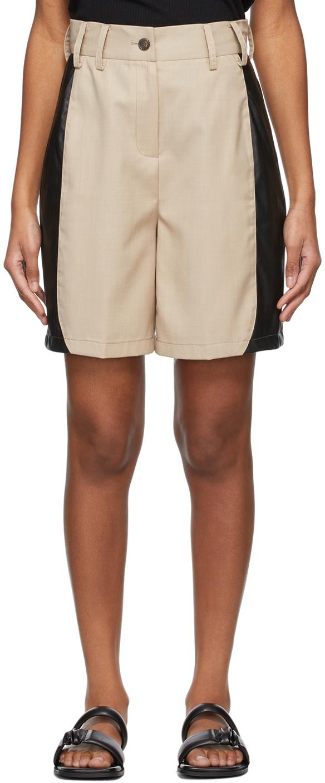 Beige Paneled Shorts