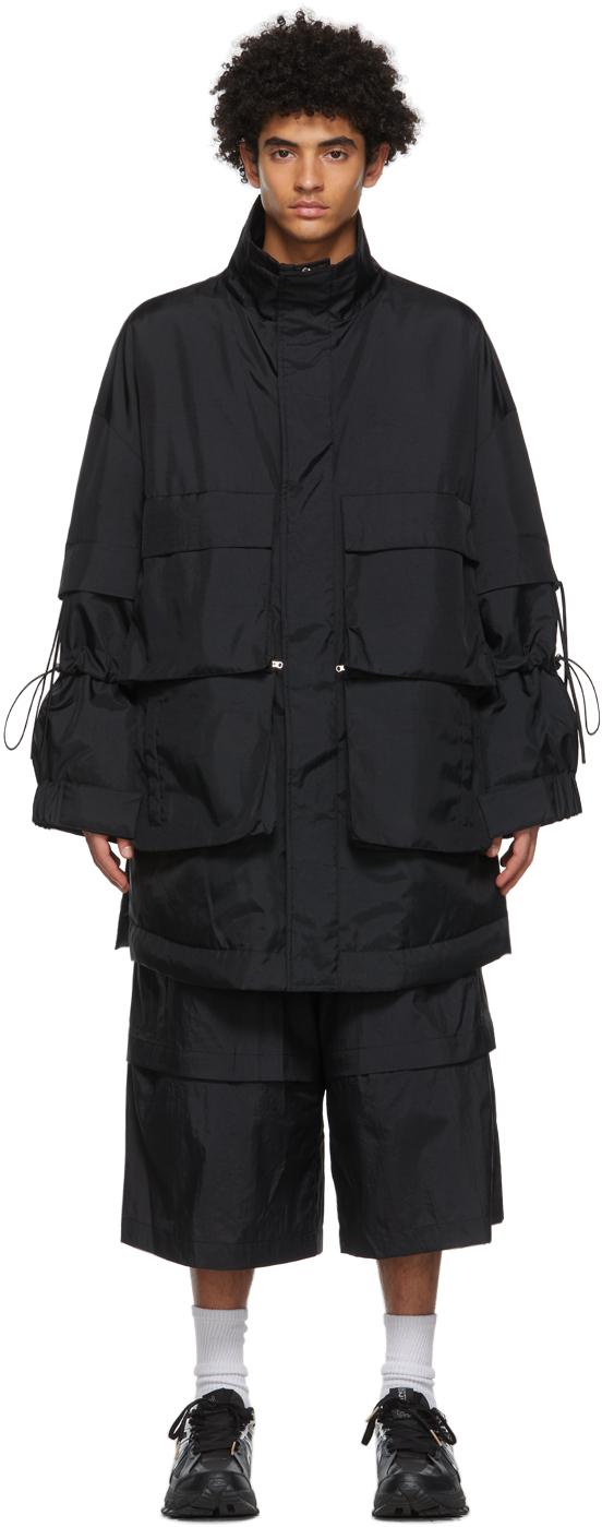 Black Detachable Pocket Coat