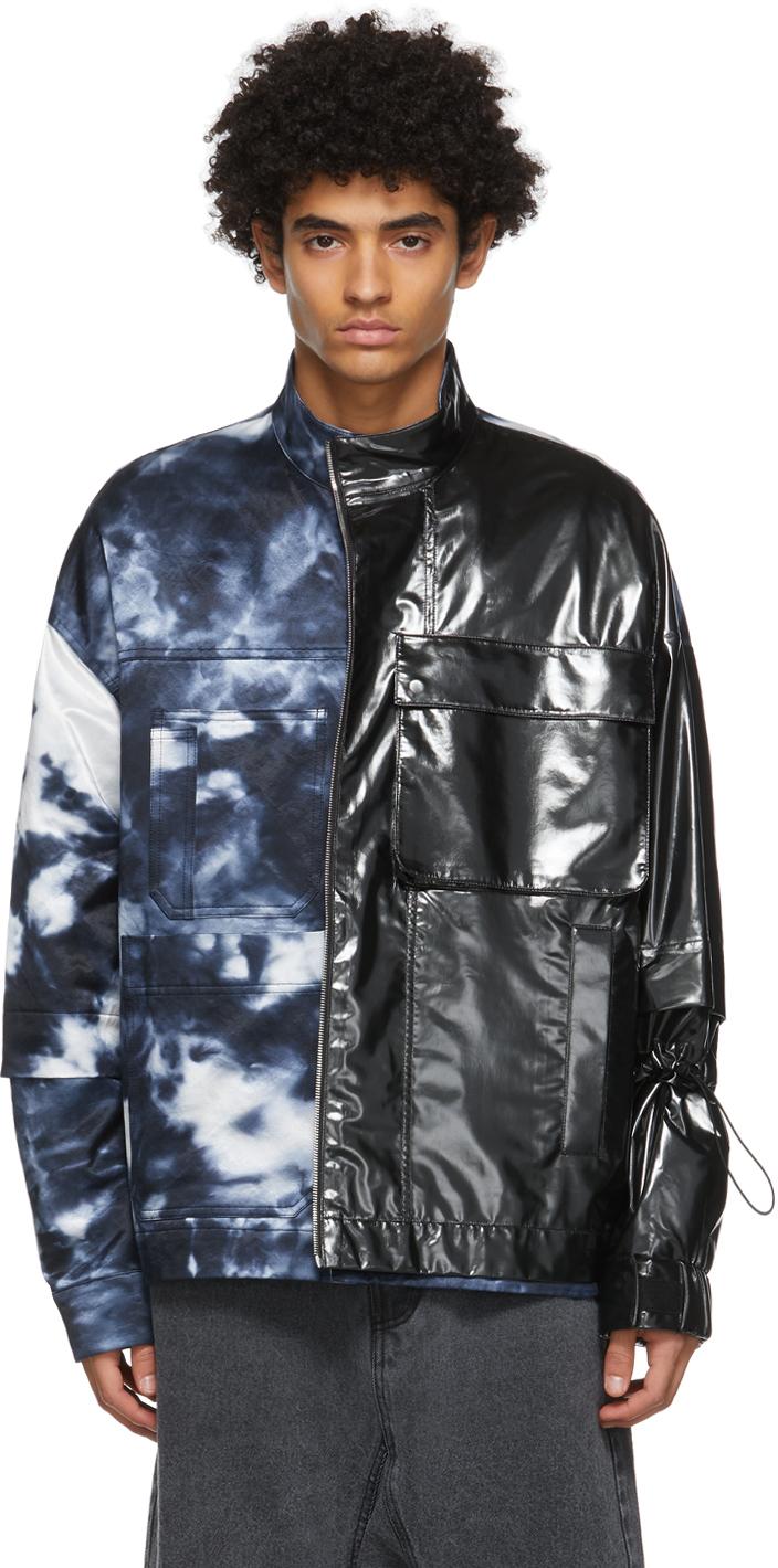 Black & Navy Tie-Dye Colorblock Jacket
