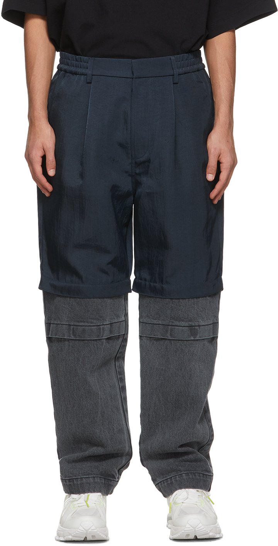 Navy & Black Paneled Trousers