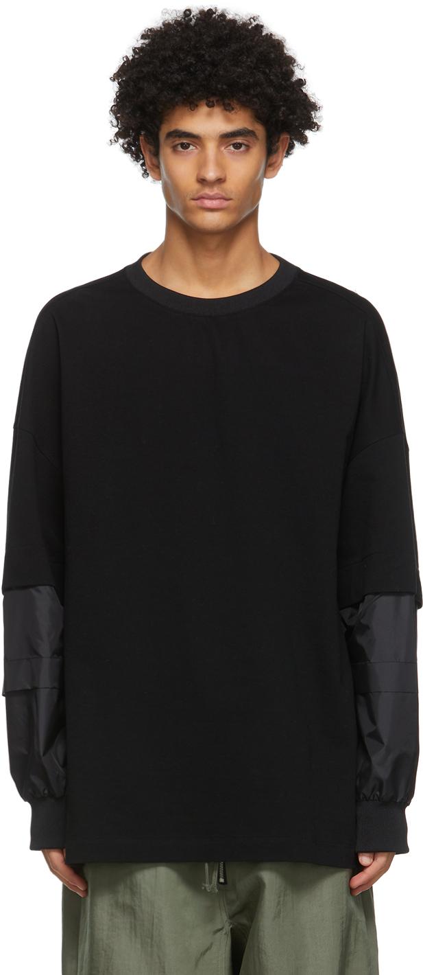 Black Detachable Sleeves Sweatshirt