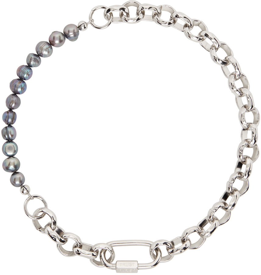 SSENSE Exclusive Silver & Black Pearl Chain Necklace