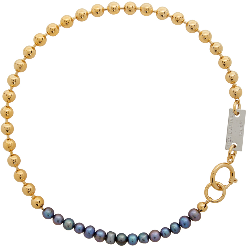 SSENSE Exclusive Gold & Black Pearl Choker Necklace