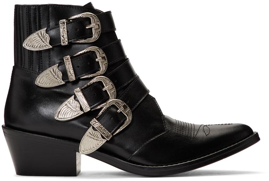 Toga Pulla 黑色 Western 四搭扣踝靴