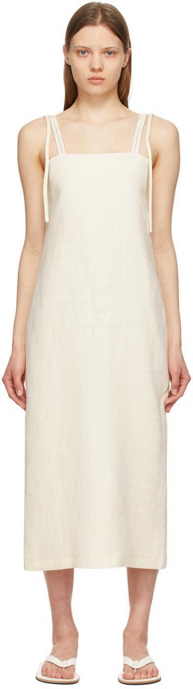 LE17SEPTEMBRE Off-White Silk Shoulder Tied Dress