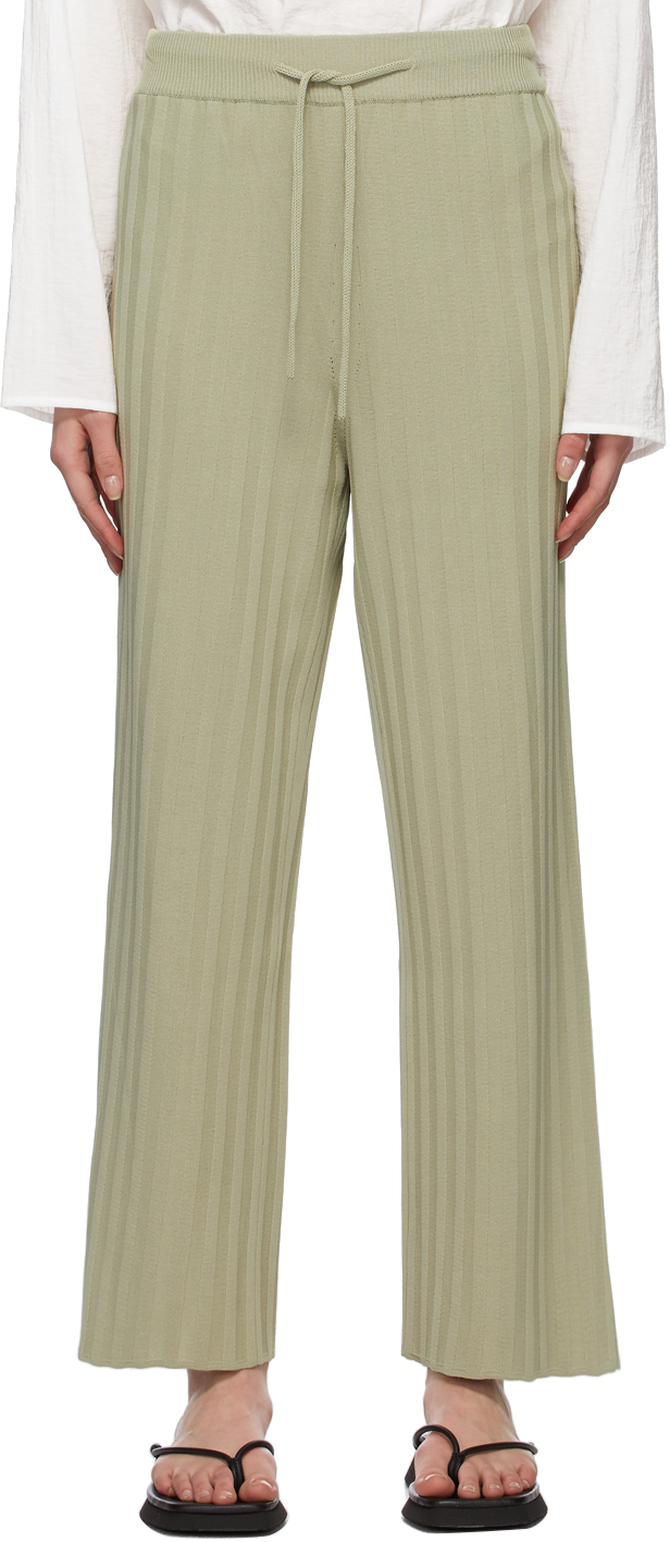 LE17SEPTEMBRE Green Rib Knit Lounge Pants