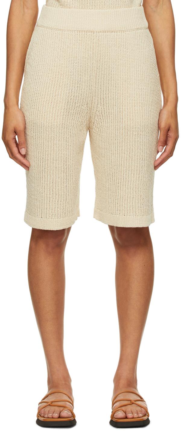 LE17SEPTEMBRE Beige Linen-Blend Rib Kit Shorts