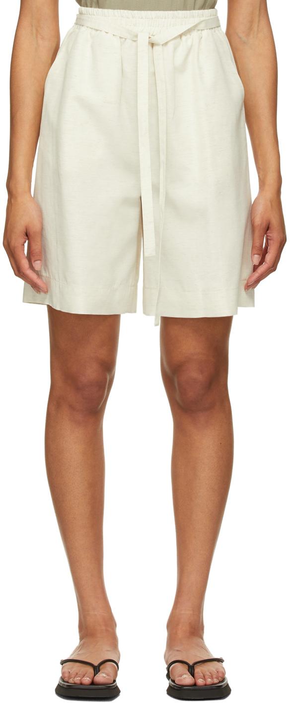 LE17SEPTEMBRE Off-White Linen-Blend Easy Shorts