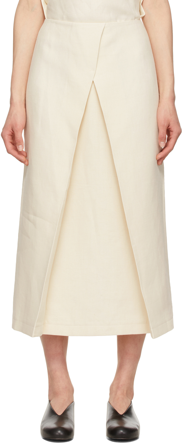 LE17SEPTEMBRE Off-White Linen Front Layered Skirt