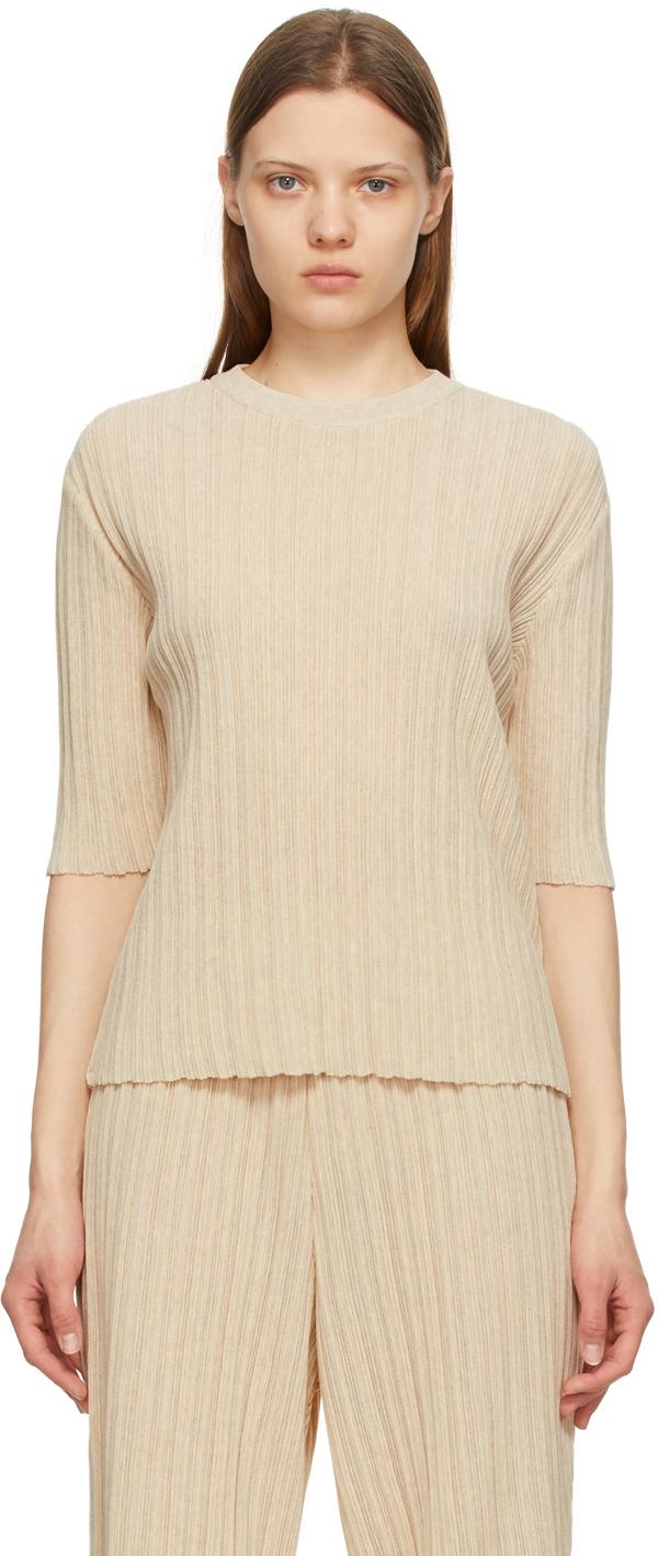 LE17SEPTEMBRE Beige Wrinkle Short Sleeve Sweater