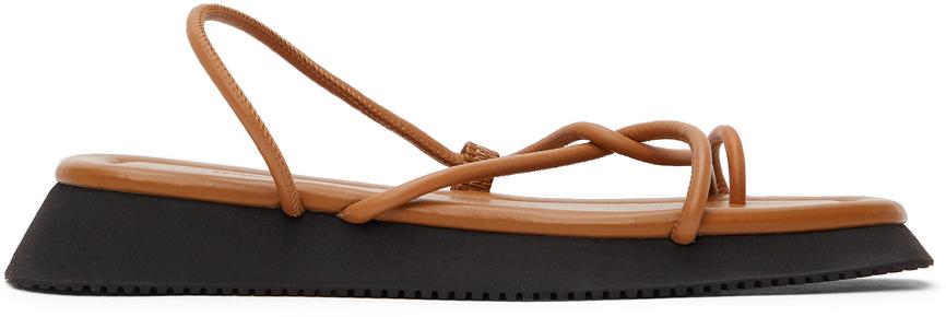 LE17SEPTEMBRE Brown Toe-Ring Sandals