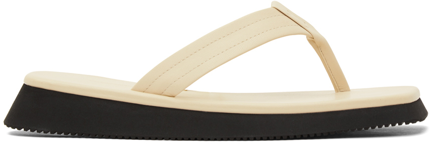 Le17septembre Off-white Leather Flip Flops In Ivory