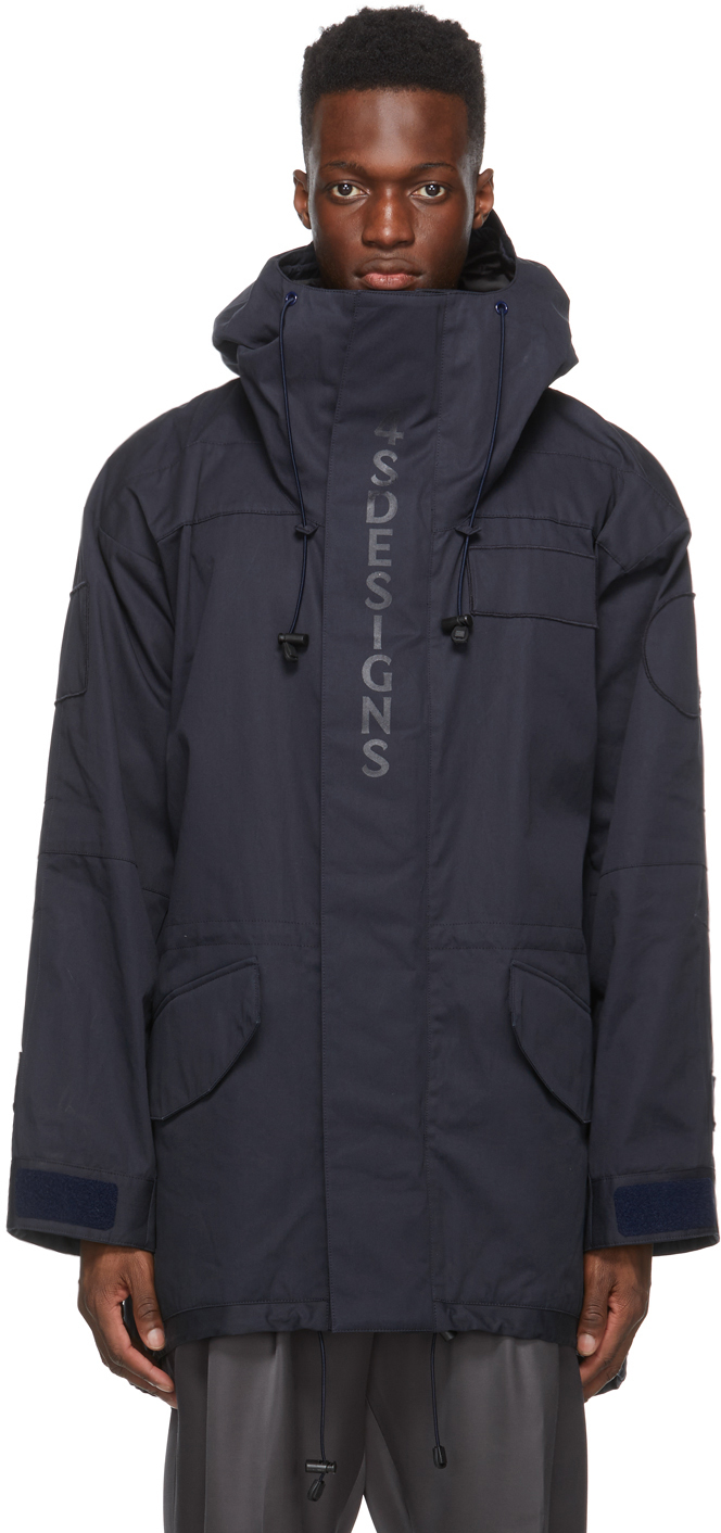 4SDESIGNS Navy Front Logo Coat 211501M176028
