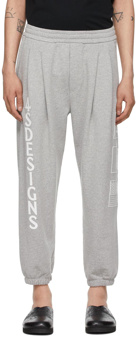4SDESIGNS Grey Two Pleat Lounge Pants 211501M190012