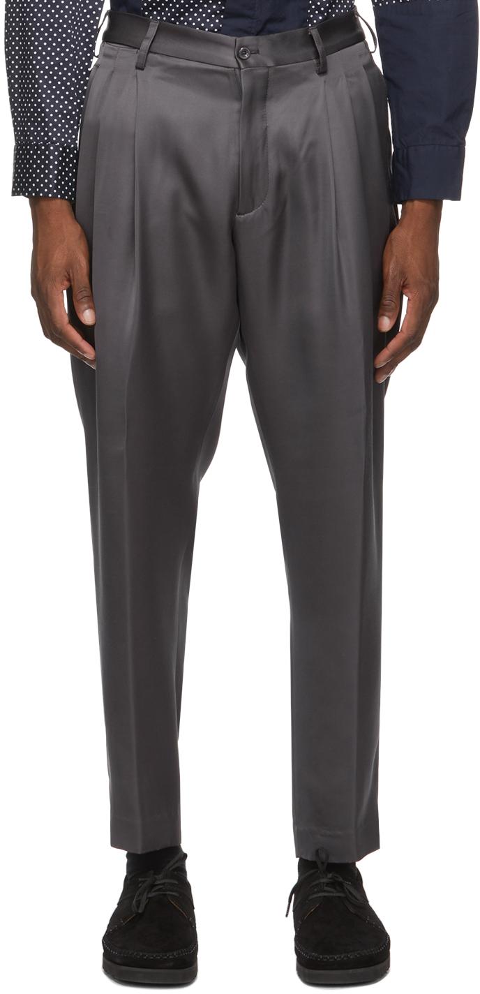 4SDESIGNS Grey Triple Pleat Trousers 211501M191007