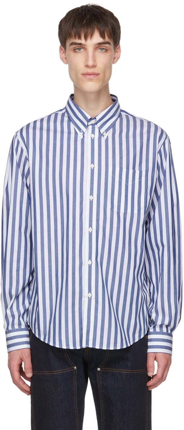 4SDESIGNS Blue White Stripe Classic SP Shirt 211501M192002