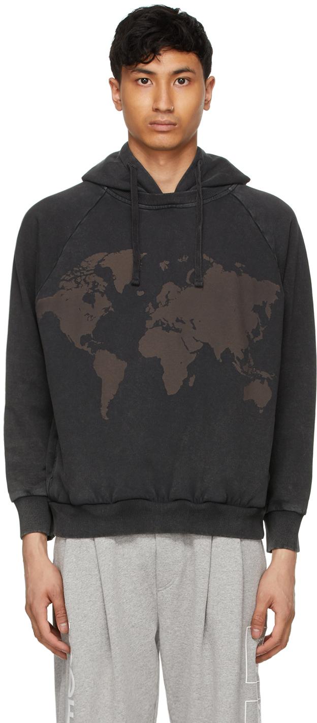 4SDESIGNS Black World Map Hoodie 211501M202015