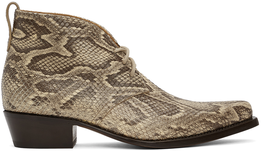 4SDESIGNS 棕色 Western Python 踝靴