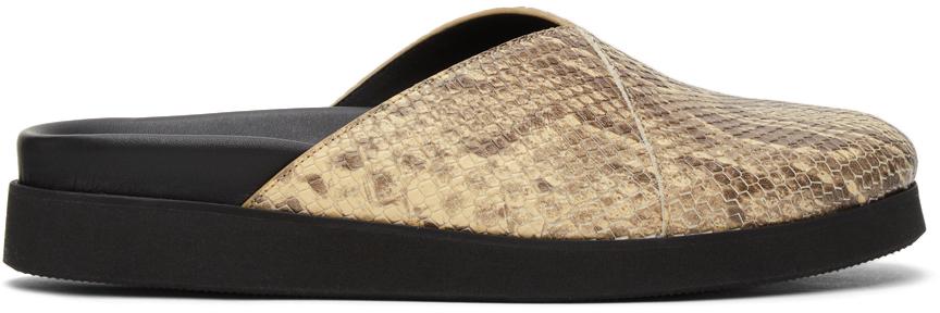 4SDESIGNS Beige Python Sabot Sandals 211501M234022