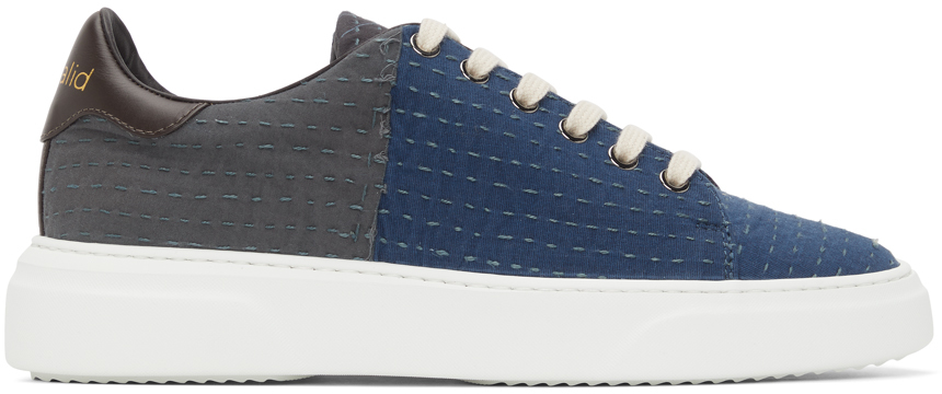 Blue Round Toe Lace-Up Sneakers