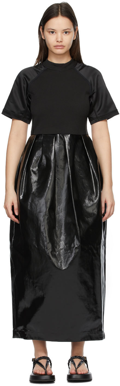 Black Patent Linen Long Dress