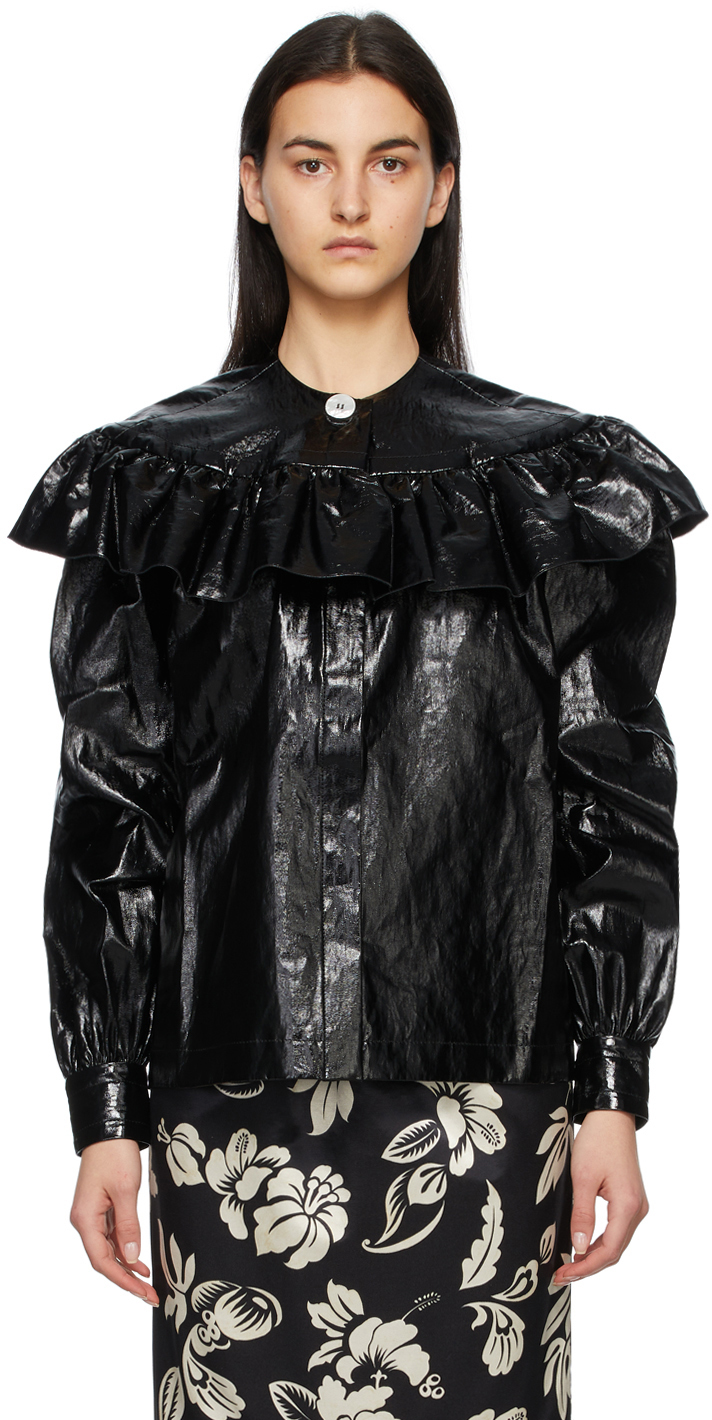 Black Patent Linen Shirt Jacket