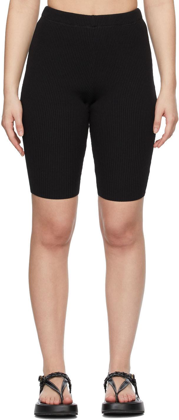 Black Rib Knit Bike Shorts
