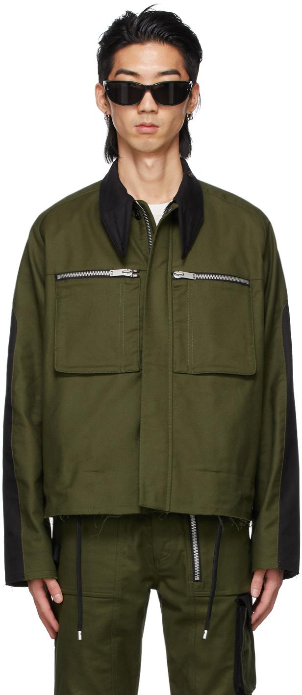 SSENSE Exclusive Khaki & Black Cropped Trench Jacket