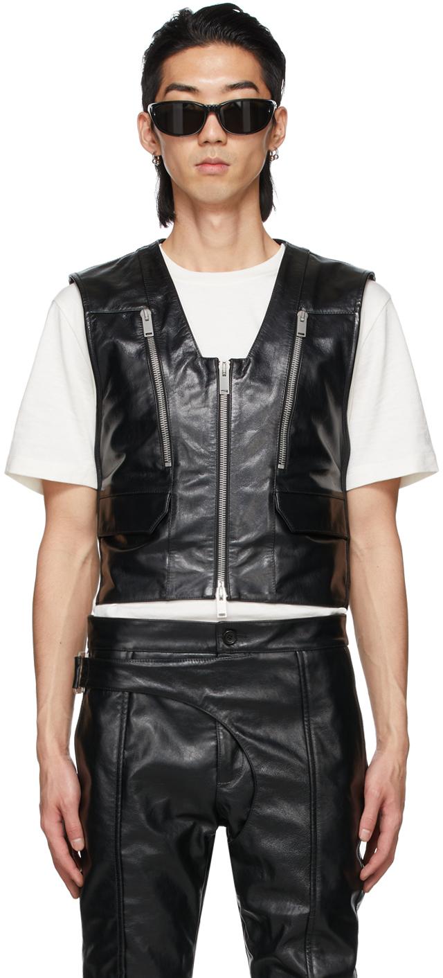 SSENSE Exclusive Black Leather Hug Vest