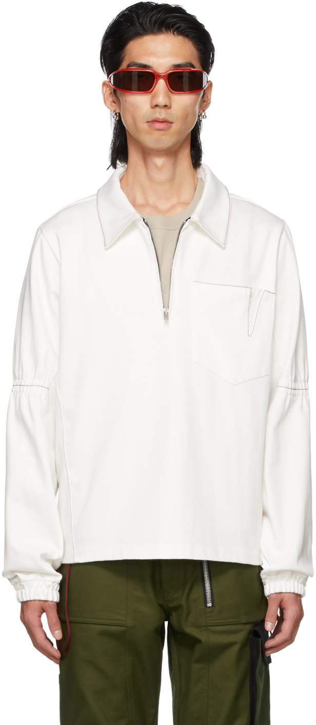 SSENSE Exclusive White Denim Zip-Up Pullover