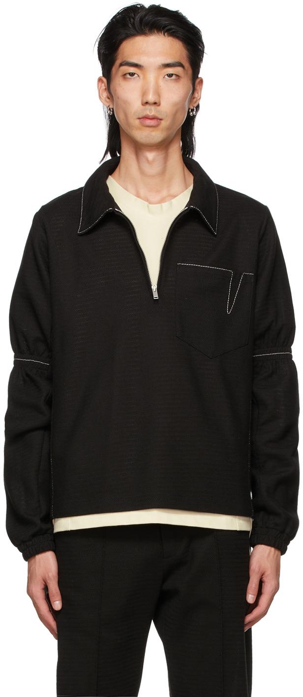 Black Knit Zip-Up Jacket