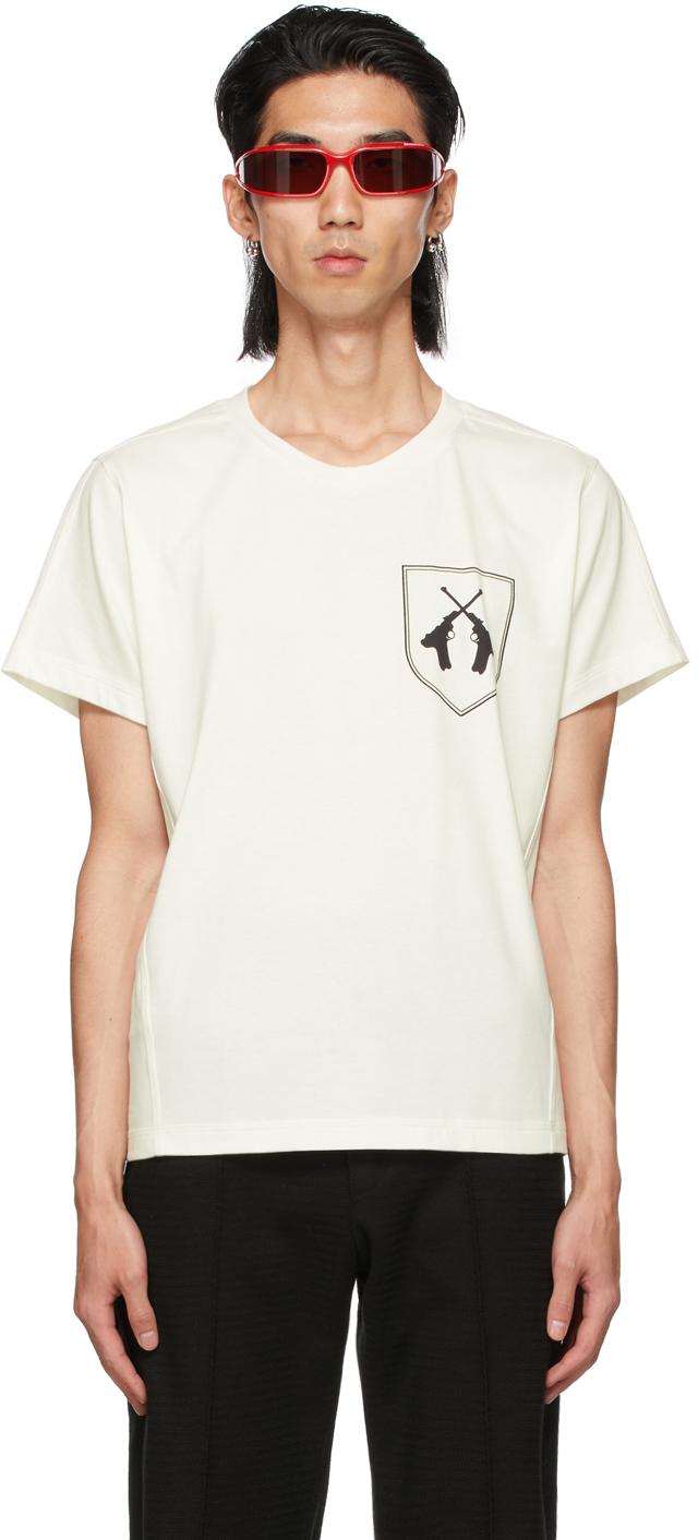 Adyar Ssense Exclusive White Twin Guns T-shirt In Lt Ivory