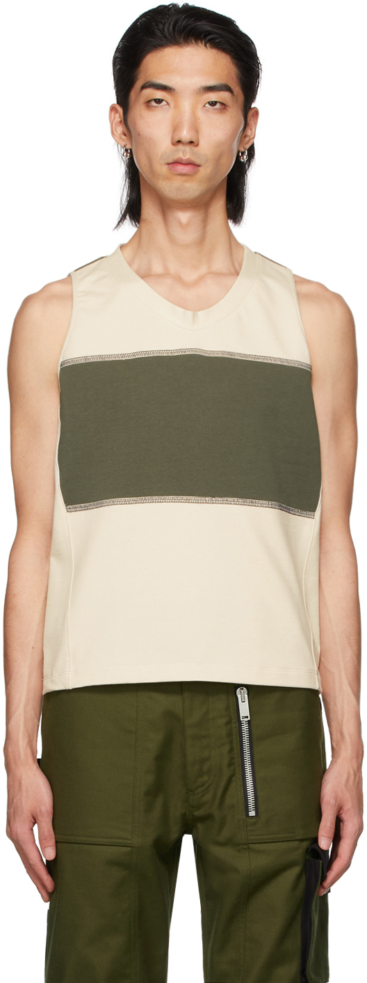 ADYAR SSENSE Exclusive Off-White & Green Clementi Tank Top