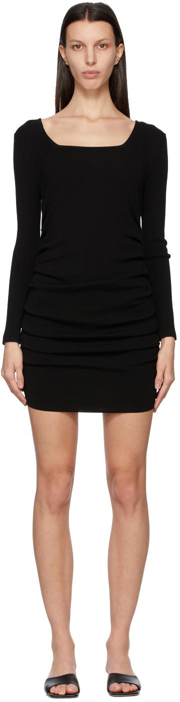 Black Knit Shirring Short Dress