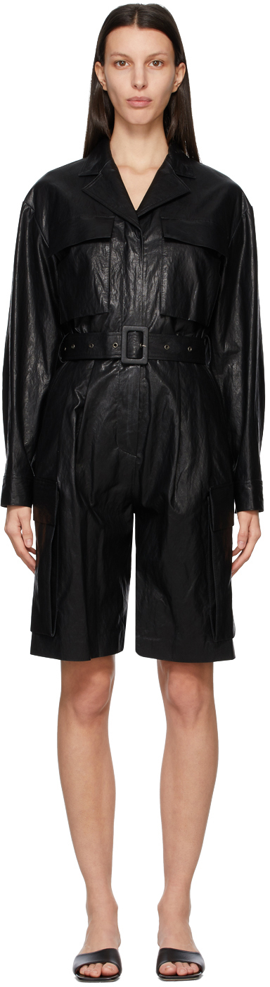 Black Faux-Leather Jumpsuit