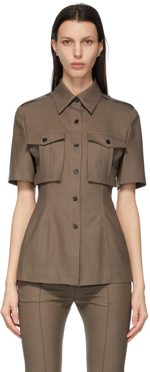 Brown Summer Wool Pocket Short Sleeve Shirt