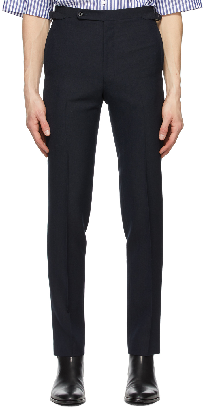 Navy Fresco Tapered High-Waisted Trousers
