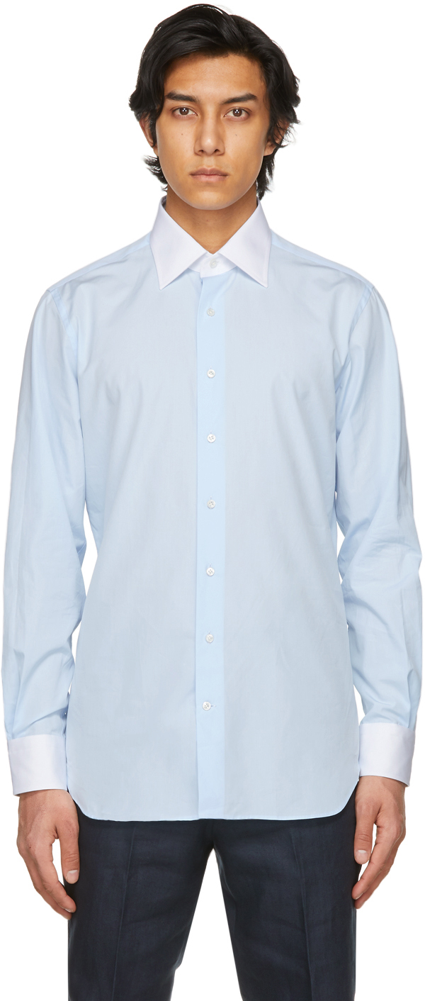 Blue Wide Collar Shirt