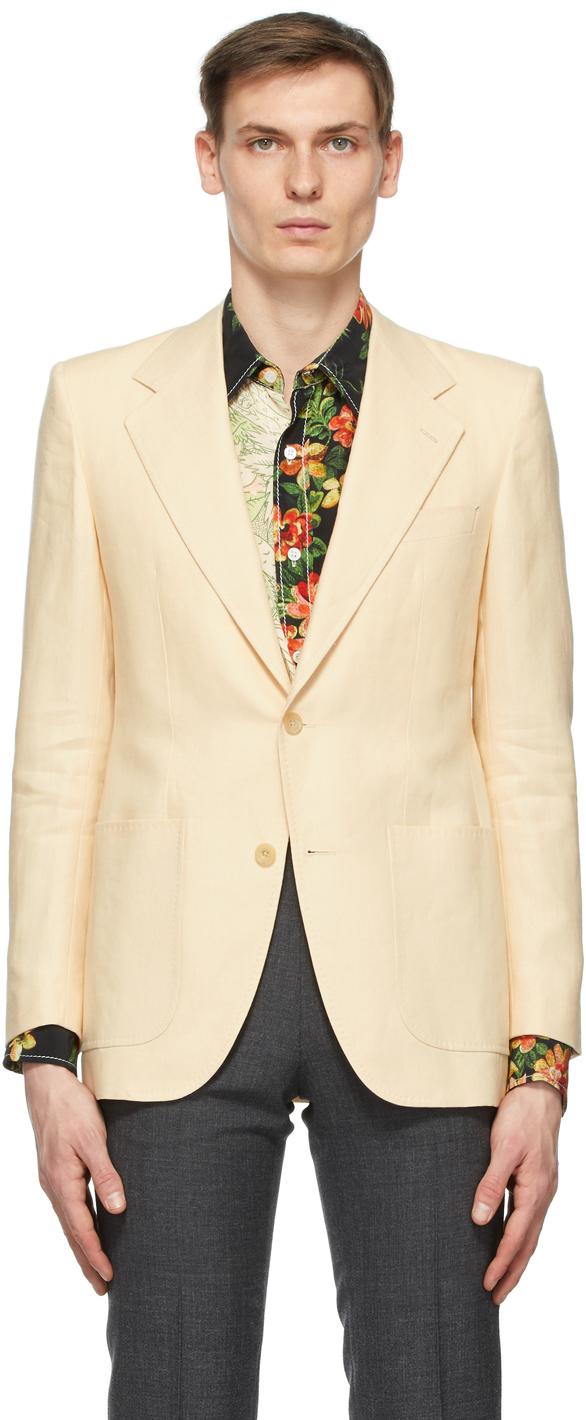 Off-White Linen Single-Breasted Blazer
