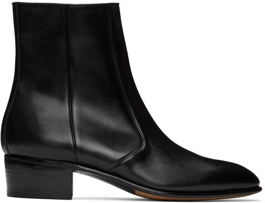 Black Leather Zipped Boots