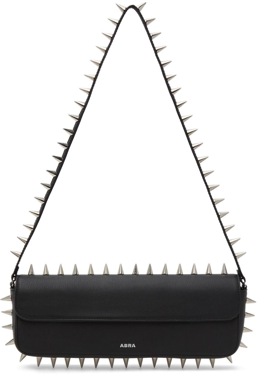 Abra Black Spike Baguette Bag 211526F048003