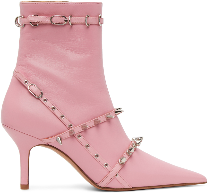Abra SSENSE Exclusive Pink Spike Belt Boots 211526F113001