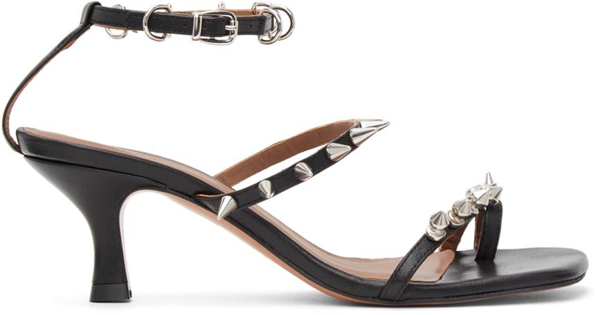 Black Spike Heeled Sandals