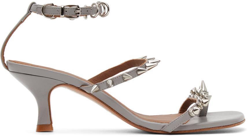 Abra Grey Spike Heeled Sandals 211526F125002