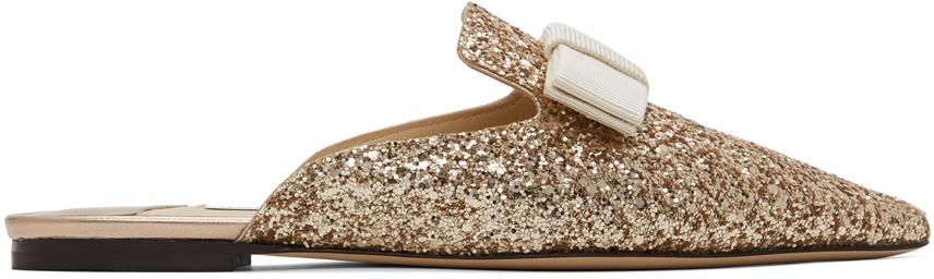 Jimmy Choo SSENSE 独家发售金色 Galaxy Star 亮片平底鞋