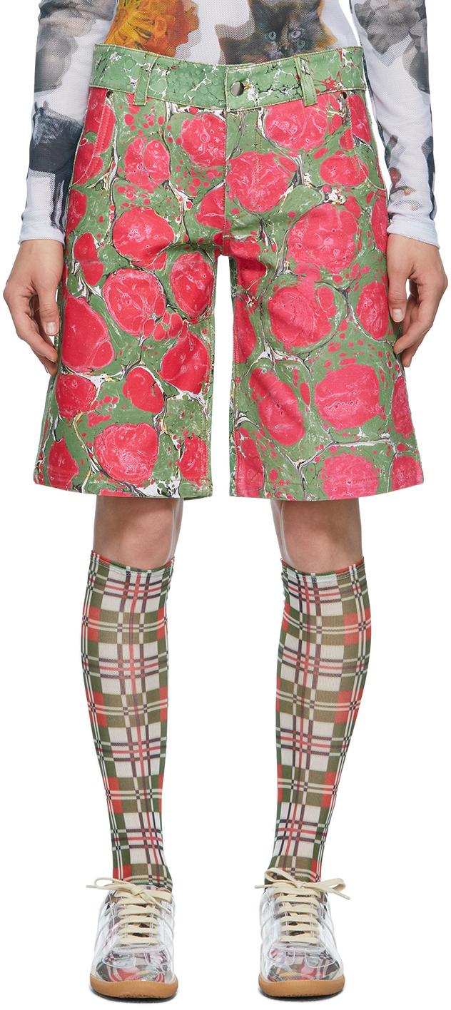 Green & Pink Denim Marbled Shorts