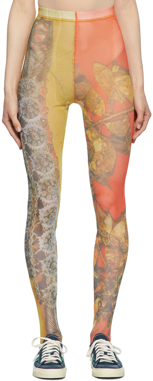 Orange & Yellow Mesh Cartoon Leggings