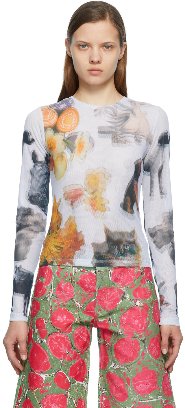 Multicolor Mesh Ami Collage Cat Long Sleeve T-Shirt