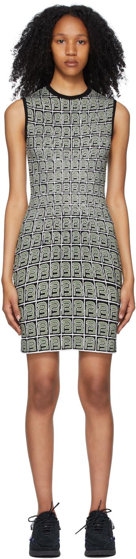 Black & Green Monogram Knit Tank Dress