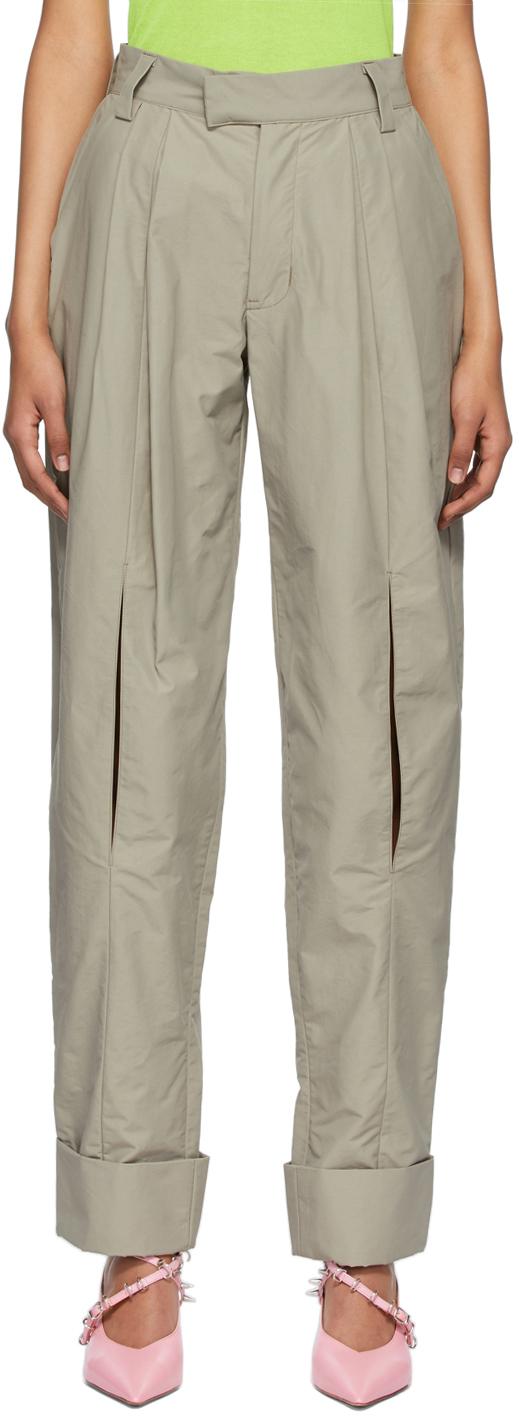 Beige Open Knee Trousers